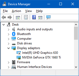 Graphics Cards in Windows Device Manager